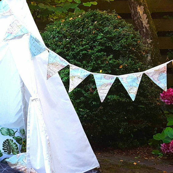 Handmade fabric bunting world map banner 8 flags flag line like this item gumiabroncs Images