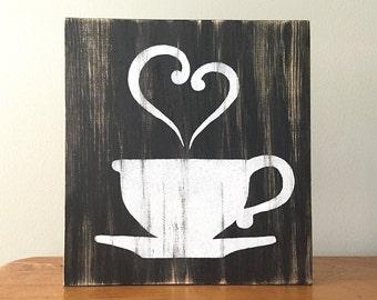 Kitchen Decor (b/w)  - Coffee Decor - Tea Decor - Coffee Cup - Tea Cup - Rustic Wall Decor - Farmhouse Decor