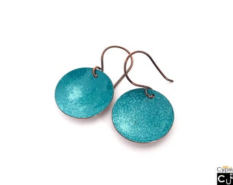 Handmade copper earrings, teal and turquoise enamel