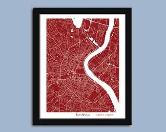 Bordeaux map, Bordeaux city art map, Bordeaux wall art poster, Bordeaux decorative map