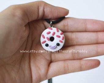Red Velvet Donut Pendant Necklace