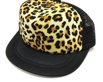 Black with Leopard Baby Trucker Hat