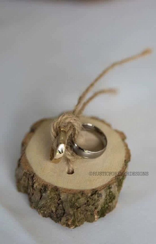 Rustic Shabby Chic Ring Bearer Pillow Wedding Wood Slice