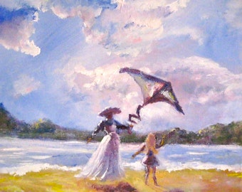 Original acrylic painting/Kite Flying/artist signed/impressionistic/mother and daughter