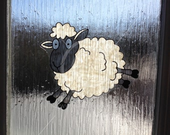 Sheep jumping window cling, hand painted for glass & window areas, reusable static cling decal, faux stained glass effect, suncatcher decals