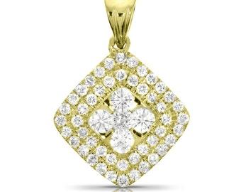0.93 Ct Diamond Pendant, 14K Yellow Gold Pendant, Yellow Gold Pendant Gift, 15.7 mm Jewelry Anniversary Gift