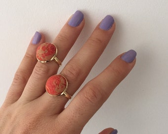 Red sponge coral midi ring , Gold plated solitaire midi ring , Christmas Gift.