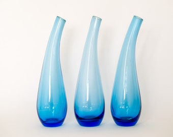 Blue Glass Vases - Set of three / Leaning Vase / Blue Gradient