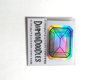 Holographic Emerald Cut Diamond Sticker Pack