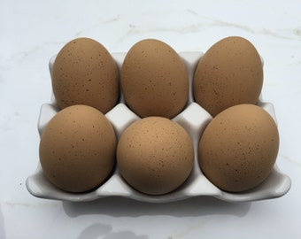 Ceramic Eggs, 6 Blank DIY Brown Speckled  Chicken Eggs
