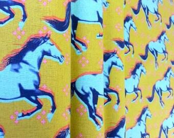 Nursery decor | Animal curtain | Nursery curtain | Horse curtain | Mustang curtain | Turquoise curtain | Brown curtain | Retro curtain