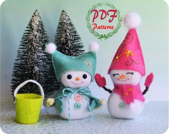 PDF Pattern, Snowman / Felt Snowman Pattern