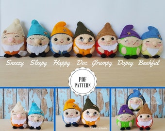 The Seven Dwarfs PDF Felt Sewing Pattern