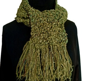 Handknit Knotty Green Long Scarf