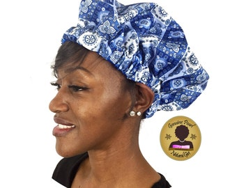 Satin Shower Cap - Paisley Blue Limited Edition
