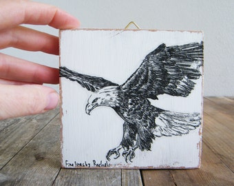Miniature picture, Bald eagle print, Forth of july, Wood signs, Cabin decor, Hipster wall decor, Eagle drawing