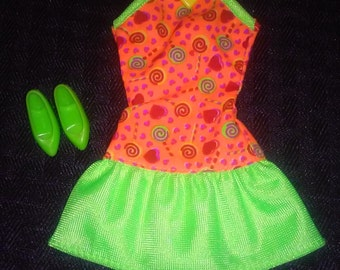 Vintage Barbie Clothes Orange And Green Party Dress