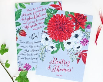 Wedding Invitation Card - Flowers & Individual Lettering / Dahlia