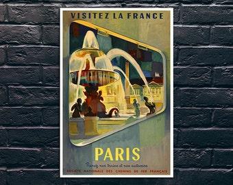Paris Travel Poster, Visitez La France Vintage Poster, France Travel Print, Vintage Travel Poster Print, Sticker and Canvas Print