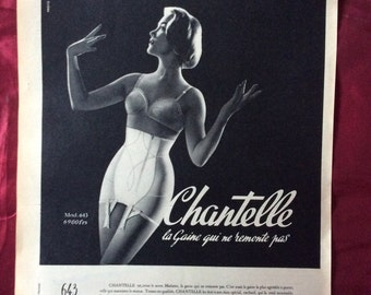 Vintage Lingerie Advert 1958 Original From French Magazine Chantelle Bra