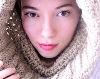 Hooded Crocheted Cowl Neck
