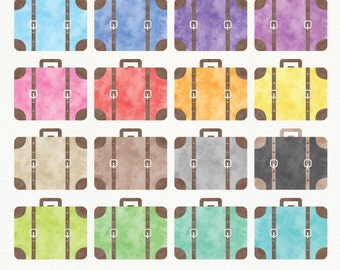 Watercolor Suitcases Digital Clipart, Vintage Luggage Clipart