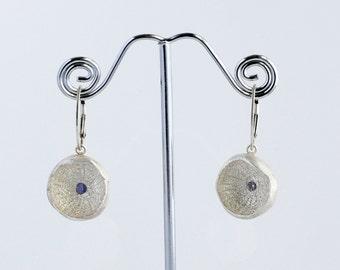 silver dangle earrings tanzanites