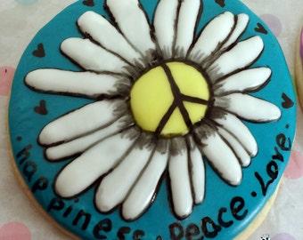 Peace Daisy sugar cookies