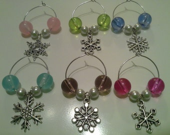 SALE! Colorful Snowflake Wine Glass Charms, Set of Six Charms, Hostess Gift, Holiday Gift, Winter Wine Charms