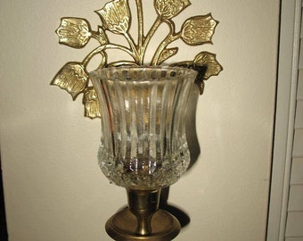 Candle holder candlestick wall basket of flowers with fluted glass (2) candle holder brass