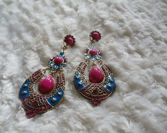 Earrings statement vintage ethnic pink/blue