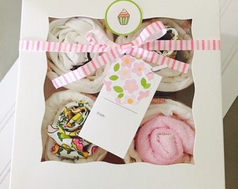"SALE!!!Baby Girl Cupcake Gift Set! Adorable Organic ""hello kitty"" set"