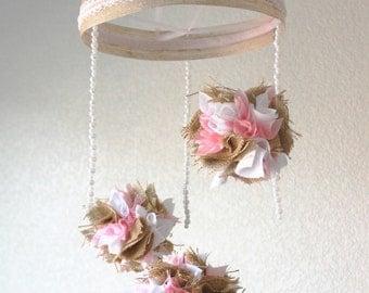 Pink burlap baby mobile, Shabby chic pearl pom pom baby girl crib mobile, baby chandelier, nursery decor