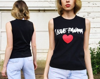 Vintage Black White + Red I Love Panama Summer Tank Top Blouse S/M