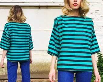 MOVING SALE Vintage Teal + Black Long Short Sleeve Striped Blouse M