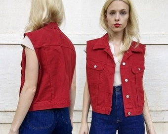 MOVING SALE Vintage 90s Red Jean Button Up Denim Collared Vest M