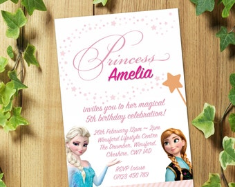 PRINTED & DELIVERED: 20 Personalized FROZEN Birthday Party Invitations Invites + Envelopes