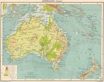 Australia Map 1920s old maps home decor Vintage Prints old maps rail map