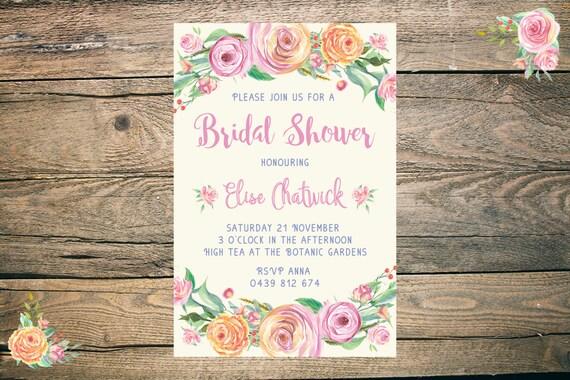 Bridal Shower Invitation - Printable - 6x4 - 5x7 - JPG - PDF - floral, pink, cream