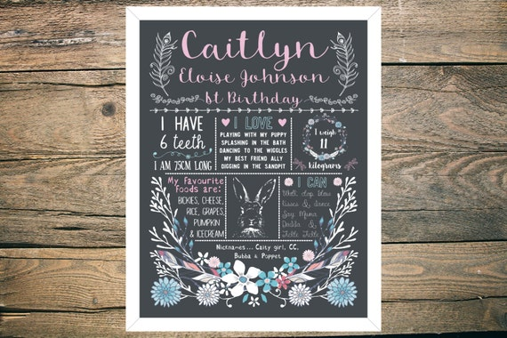 Personalised First/1st Birthday Chalkboard Sign - Girl - 11x14 inch - Printable - Boho floral theme