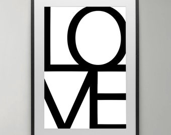 Love poster, Black and White, Love wall art,  Art Print, Home decor, gift, Typography Poster