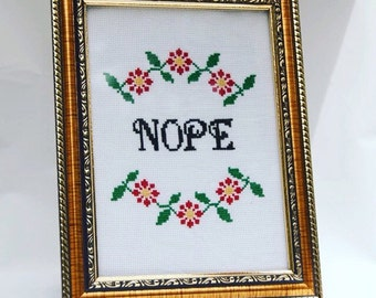 NOPE Subversive Funny Cross Stitch Pattern PDF Instant Download