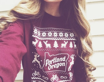 "Portland Oregon Christmas ""Sweater"" Long Sleeve Tee"