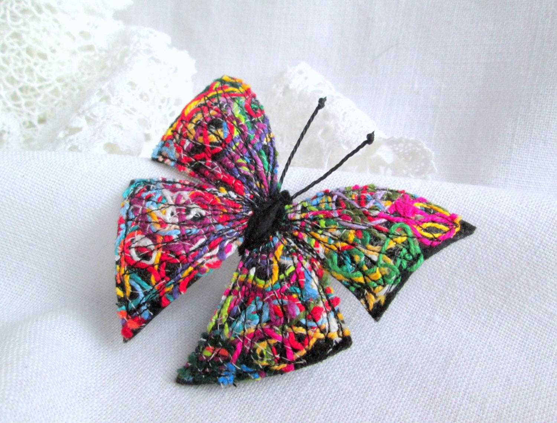 Felt Brooch Multicolored Butterfly. Fiber Art Pin. Felt - photo#43