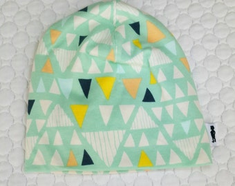 Baby Slouchie Beanie in Art Gallery knit Mojave print