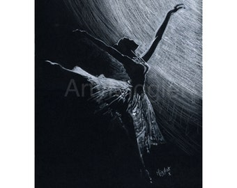 Ballet Dancer Print - A Ballet Dancer Print from my Ballerina Painting in monochrome titled 'LIMELIGHT''