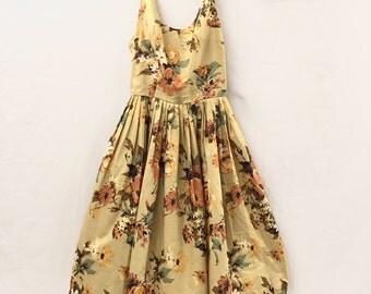 Vintage Yellow Floral Print A-line Dress