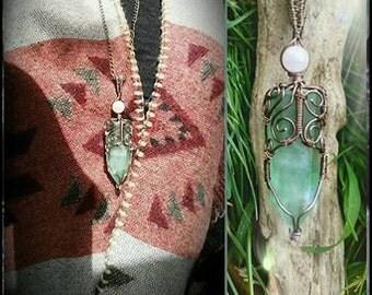 Ethnic hippie jewelry - pendant wire wrapped in green fluorite