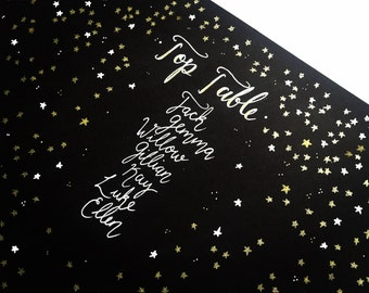 Hand drawn wedding table plan, gold and black, wedding, elegant