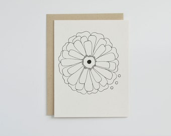 Floral Greeting Card. Hand Drawn Card. Single Flower Card. Blank Greeting Card. Mothers Day Card. Paper Goods.